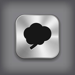 Brain icon - vector metal app button