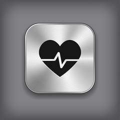 Cardiology icon - vector metal app button