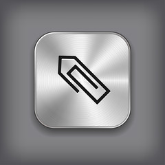 Paper clip icon - vector metal app button
