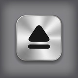 Up arrow icon - vector metal app button