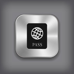 Passport icon - vector metal app button