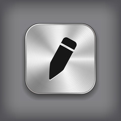 Pencil icon - vector metal app button
