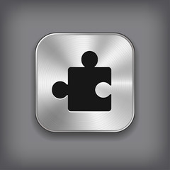 Puzzle icon - vector metal app button