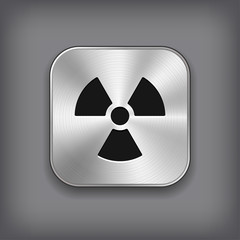 Radioaktivity icon - vector metal app button