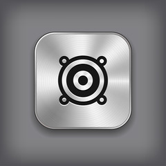 Audio speaker icon - vector metal app button