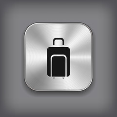Luggage icon - vector metal app button
