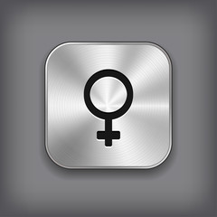 Female icon - vector metal app button