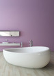White bathtub against violet wall