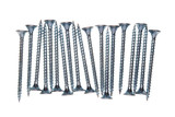 Bunch of chipboard screws isolated on white background poster