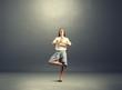 happy businesswoman practicing yoga