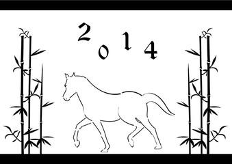 Nouvel an Chinois - année du cheval - noir et blanc