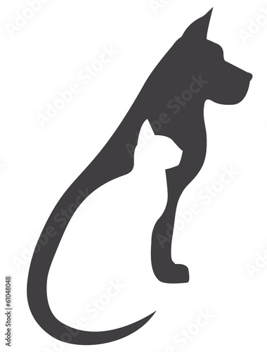 Fototapeta Grey dog and white cat silhouettes composition