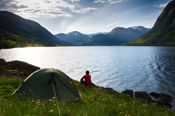 camping  in mountains near lake