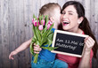 young boy celebrating mothers day