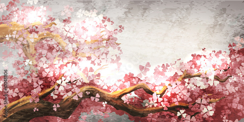 Wall mural Sakura branch blooming