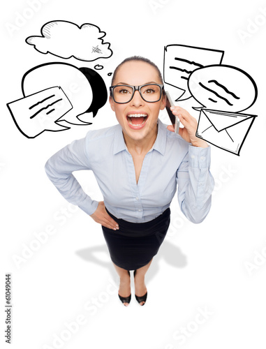 happy businesswoman in eyeglasses with smartphone
