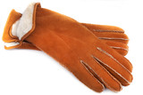 pair of winter sheepskin gloves with fur
