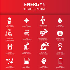 Energy icon set on red background,vector