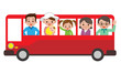 canvas print picture - 観光バスで家族旅行