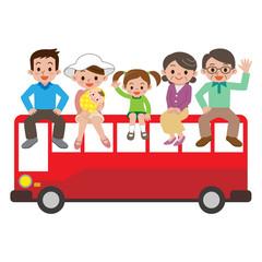 バスの乗った大家族
