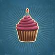 Retro Birthday Cupcake