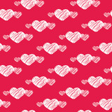 White scratch hearts on red seamless pattern