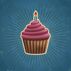 Retro Birthday Cupcake