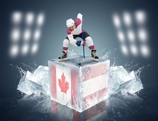 Canada- Austria game. Face-off player on the ice cube.