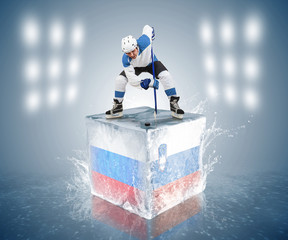 Russia - Slovenia game. Face-off player on the ice cube.