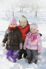 Happy children having fun in winter