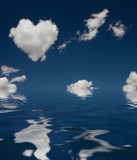 Heart Cloud and reflection in water