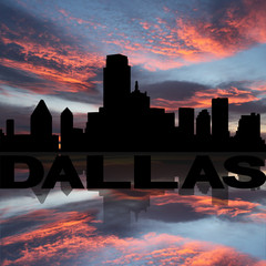 Dallas skyline reflected with text sunset illustration