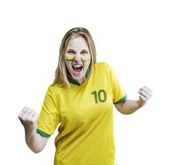 Brazilian woman celebrates on white background