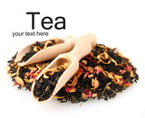aromatic black dry tea with fruits and petals, isolated on