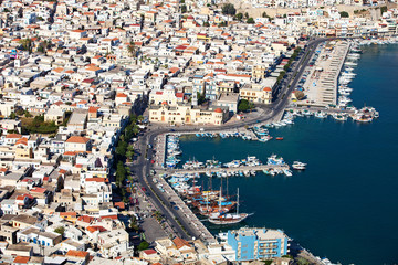 An aerial view of the city of Pothia. Kalymnos, Greece.