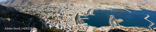 An aerial view of the port of Pothia. Kalymnos, Greece.