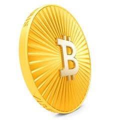3d close-up of golden Bitcoin coin