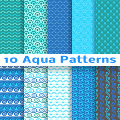 Wave different seamless patterns (tiling). Vector illustration