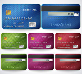 Set of realistic credit card two sides isolated