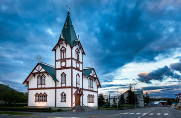 Icelandic church in the little town of Husavik