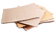 Stack of cardboard for recycling isolated on white