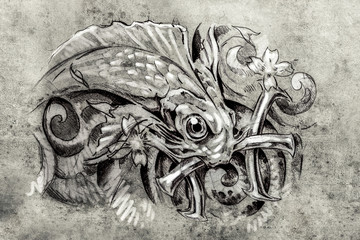 Tattoo art, sketch of a fish, Tattoo art, sketch of a fish, pisc