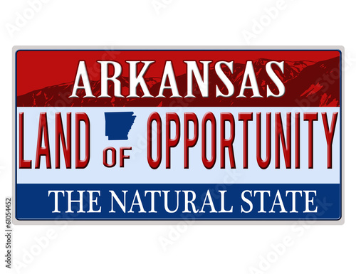 An imitation Arkansas license plate