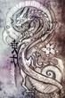 Tattoo art, sketch of a japanese dragon over colorful paper