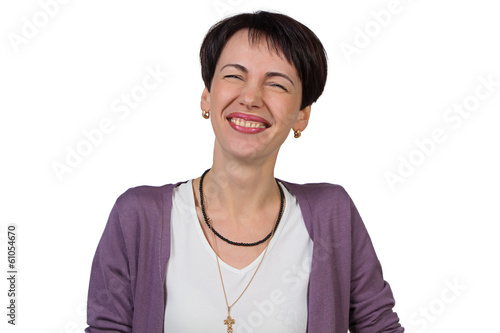 Laughing woman with short hair