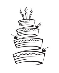 monochrome design of birthday cake