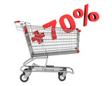 shopping cart with plus 70 percent sign isolated on white backgr