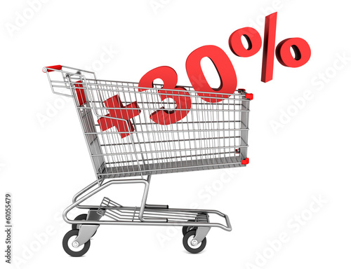 shopping cart with plus 30 percent sign isolated on white backgr