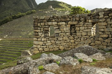 Detail of ruins in Machu Picchu, Peru