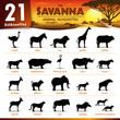 21 savanna animal silhouettes